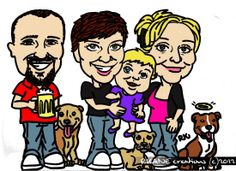 Caricature of the Montgomery Kids (and dogs!) - Sharpie and GIMP
