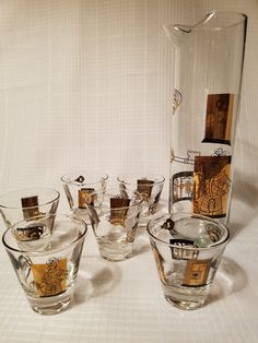 Martini Bar Set of Six Glasses With Pitcher by BerkshireMills