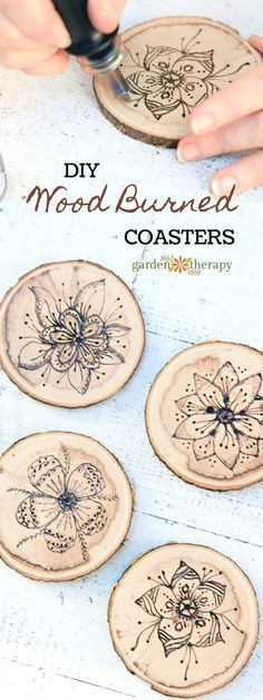 Wood Burned Coasters with Floral Pyrography How to Make Wood Burned Coasters. A simple unique gift item or complement to any home decor. The ideas are boundless! The post Wood Burned Coasters with Floral Pyrography appeared first on Wood Diy. Wood Burning Crafts, Wood Burning Patterns, Wood Burning Art, Wood Burning Projects, Wood Patterns, Craft Patterns, Easy Woodworking Projects, Wood Projects, Woodworking Tools