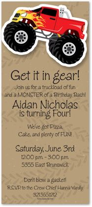 Monster Truck Party Invitations by Paper So Pretty - Invitation Box Monster Jam, Monster Trucks, Monster Truck Birthday, 4th Birthday Parties, Birthday Fun, Birthday Ideas, Fourth Birthday, Birthday Party Invitations, Invites