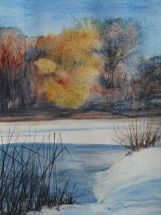 Watercolors, Spring, Winter, Painting, Art, Kunst, Winter Time, Art Background, Water Colors