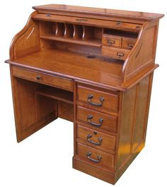 Small Roll Top Desk Single Pedestal 42in Solid Wood Home Office Locking