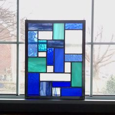 Blue Geometric Stained Glass Panel - Blue Stained Glass Window - Beach Decor - Modern - Privacy Screen - Garden Decor - Abstract Art