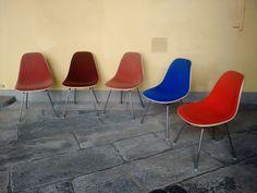 5 charles eames sedie hermann miller fiberglass shell side chair