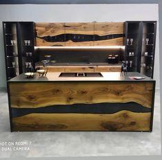 Live Edge Furniture, Resin Furniture, Kitchen Furniture, Custom Furniture, Furniture Design, Wood Slab, Walnut Wood, Walnut Table, Custom Kitchen Cabinets