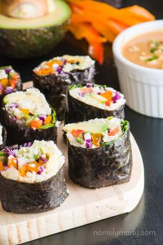Fall in love with these easy, healthy, Vegan Sushi with Cauliflower Rice, you can make right at home!