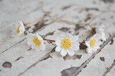 Baby Daisy Felt Flower Crown With Vines / Ready-To-Ship Handmade Merino Wool-Blend Forever Flower Headband in Linen