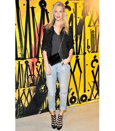 @Who What Wear - Boyfriend Jeans  We're pretty sure that when this trend first emerged, our boyfriends were hoping it would be a flash in the pan. But boyfriend jeans are now a denim staple, and one of our favorite styles.  On Poppy Delevingne: sass & bide The Rock Steady Jeans ($270) in Indigo; Jimmy Choo Candy Clutch Bag ($995) available in Black Glitter with Gold Stars; Jimmy Choo shoes.