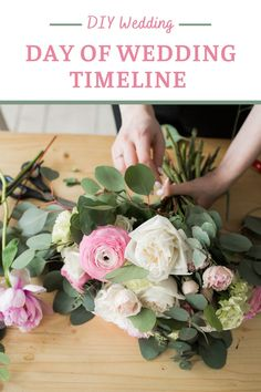 Planning DIY on the day of your wedding? If you create a day of wedding timeline, it'll be easier to stay on track. Find out how to create your day of wedding timeline. And what to include on your wedding day checklist. Once your timeline is ready, you can share it with everyone: your bridesmaids, groomsmen, parents, helpers, coordinators and vendors. Schedule your DIY bouquets, centerpieces, ceremony and reception decor. Diy Wedding Day, Diy Wedding Photo Booth, Diy Wedding Backdrop, Diy Wedding Bouquet, Diy Bouquet, Diy Wedding Projects, Diy Wedding Flowers, Diy Wedding Favors, Wedding Crafts