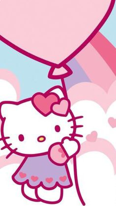Hello kitty holding a balloons and like OMG! get some yourself some pawtastic adorable cat apparel! Hello Kitty Rooms, Hello Kitty Art, Hello Kitty My Melody, Hello Kitty Pictures, Hello Kitty Birthday, Hello Kitty Backgrounds, Hello Kitty Wallpaper, Sanrio Wallpaper, Friends Wallpaper
