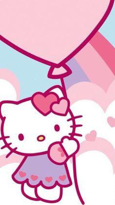 Hello kitty holding a balloons