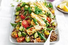 This sensational vegetarian salad can be served as a side dish or a light main. Haloumi and spiced lentil veggie salad