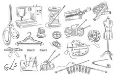 Sewing Accessories Hand drawn by TopVectors on @creativemarket