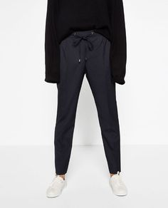 Image 1 of STRIPED TROUSERS WITH CORD from Zara