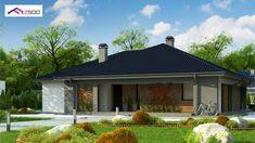 Projekt domu Z344 Parterowy dom, z dachem wielospadowym oraz dużym zadaszonym tarasem. Design Case, Gazebo, House Plans, Construction, Outdoor Structures, How To Plan, Outdoor Decor, Home Decor, Homes