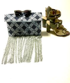 Fold over zip top clutch with fringe- blue batik · Le Gendre · Online Store Powered by Storenvy