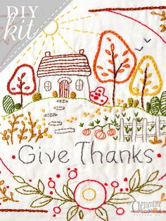 Give Thanks Autumn Complete Embroidery KIT by ClementinePatterns