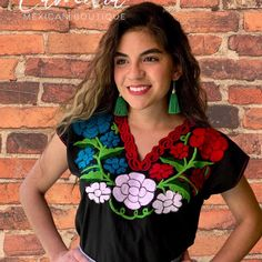Chiapas Flowers Zinacantan VIVA MEXICO BLOUSE – Camelia Mexican Boutique Mexican Top, Mexican Blouse, Mexican Independence Day Celebration, Flag Colors, Embroidery Patterns, Boutique, Cotton Fabric, Boho, Artisan