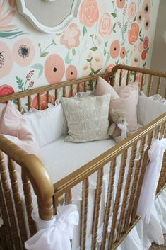 Hand Painted Floral Wall Mural Nursery. Floral WallBaby Girl ...