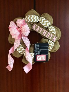 Baby Boy or Girl Nursery Hospital Door Wreath Baby Shower Gift Name Height Weight Length Date Chalkboard Custom Order Chevron Burlap Chalk by BayouBurlapandBling on Etsy
