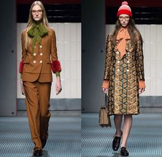 Gucci 2015-2016 Fall Autumn Winter Womens Runway Catwalk Looks - Milano Moda Donna Collezione Milan Fashion Week Italy - Contemporary Sheer Chiffon Tulle Lace Midi Skirt Accordion Pleats Flowers Florals Botanical Print Pattern Outerwear Coat Pantsuit Blouse Pussycat Bow Tweed Embroidery 3D Embellishments Adornments Bird Silk Cardigan Tiered Ruffles Dress Coatdress Geometric