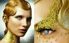 Gold makeup, something like this maybe on lips. Gold sprinkles