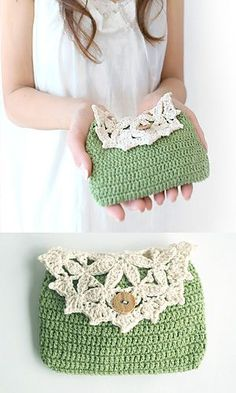 So cute!  Vintage crochet purse- 210-52 Floral Pouch by Pierrot (Gosyo Co., Ltd) on Ravely.  This pattern is available for free.  Japanese v...