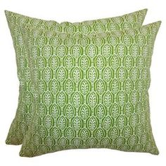 Set of two cotton pillows with green and white leaf motif.  Product: Set of 2 pillowsConstruction Material: Cotton cover and high fiber polyester fillColor: Green and whiteFeatures:  Inserts includedHidden zipper closureMade in the USA Dimensions: 18 x 18 eachCleaning and Care: Spot clean