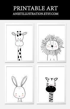 Black and white nursery kids art. Printable nursery wall art.