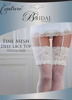 22a8334b18f Couture Fine Mesh Bridal Deep Lace Top Stockings