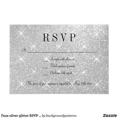 Faux silver glitter RSVP wedding response cards Faux silver glitter RSVP wedding response cards for reply. Give your guests a way to respond if they are coming or not to your elegant wedding. This glamorous design goes to gether with wedding reception invitations and other items of a classy themed collection set. Customizable text and paper quality. Faux sparkling image print design for bride and groom couple. Trendy themed marriage accessories and lxuruious style party supplies. Stylish…