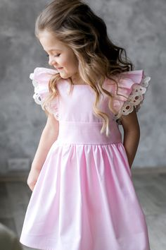 Girls Easter Pinafore Dress, Pink cotton dress for girl with short sleeves, girls dress, Organic baby dress with ruffles pinafore dress Easter Dresses For Toddlers, Girls Easter Dresses, Little Girl Dresses, Girls Dresses, Dress For Girl Child, Toddler Dress, Baby Dress, Baby Girl Dress Patterns, Kids Frocks