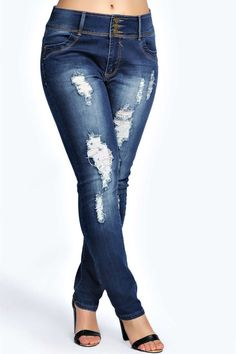 Plus Size High Waisted Stretch Skinny Jeans - Distressed