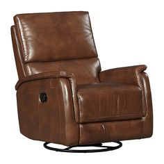Lucas Swivel Recliner - Find the Perfect Style! Brown Leather Recliner, Leather Recliner Chair, Swivel Recliner, Contemporary Recliner Chairs, Wall Hugger Recliners, Sit Back And Relax, Foam Cushions, Dark Brown Leather, Sunroom