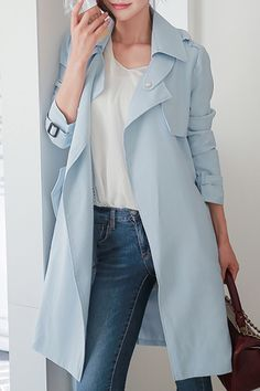 Isilee Light Blue Casual Style Belted Coat | Coats at DEZZAL