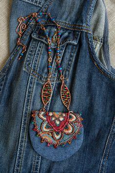 Denim Amulet pouch,Textile Pendant necklace,Boho neck bag,Purse and bag,Hippie n… - Jewerly Craft Textile Jewelry, Fabric Jewelry, Boho Jewelry, Jewelry Necklaces, Jean Purses, Purses Boho, Denim Purse, Medicine Bag, Denim Crafts