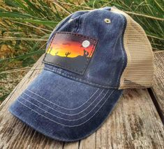 Hand Tooled Hand Painted Custom Leather Snapback Mesh Patch Cap Dark Blue with Desert Sunset Scene Custom Leather, Tan Leather, Leather Snapback, Desert Sunset, Silver Wings, Painting Leather, Snap Backs, Hand Tools, Really Cool Stuff