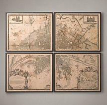 1672 Plan de Paris Four-Panel Map