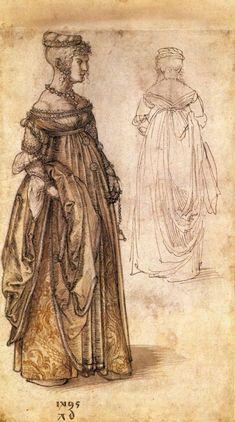 1495 - ' Zwei Venezianerinnen' (Two Venetian women), by Albrecht Durer (German, Nuremberg, 1471-1528). Renaissance Art