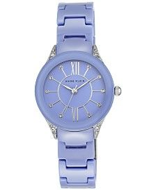Anne Klein Women's Light Blue Ceramic Bracelet Watch 30mm AK-2389LBSV