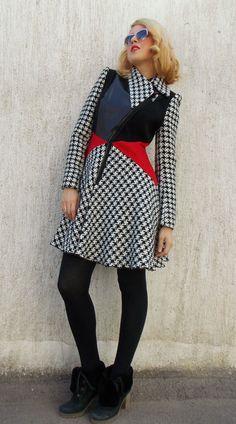 Asymmetrical Flared Wool Coat / Block Color Winter Coat /