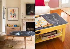 mesas convertidas en pizarra con chalkboard paint