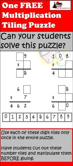 Free Multiplication Tiling Puzzle   Tiling puzzles are a way to get students to apply critical thinking number sense operational understanding and trial and error in one single puzzle. This is one single Multiplication with Regrouping Tiling puzzle which can be used as an in-class activity a modeled think aloud or a pre-assessment of where students are in their thinking skills. Download this free puzzle for your classroom from my Teachers Pay Teachers store.  3-5 4th grade math math math…