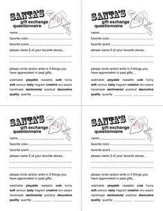 Secret Santa Gift Exchange Forms | Secret Santa Questionnaire ...