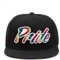 Gay Pride Black Rainbow Snapback Baseball Cap (Pride Written) ($17) ❤ liked on Polyvore featuring accessories, hats, snapback baseball caps, snap back hats, baseball hat, rainbow hat and baseball cap