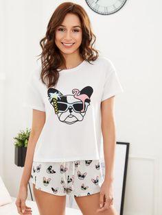 f393312ec2 Shop Dog Print Top And Drawstring Waist Shorts PJ Set online. SheIn offers Dog  Print