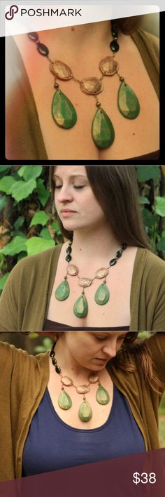 Olive Green and Brown Teardrop Statement Necklace Handmade from polymer clay and art glass beads, This necklace is earthy and chic. Full of unexpected details, this necklace features adjustable length and is truly one of a kind. EO Jewels Jewelry Necklaces