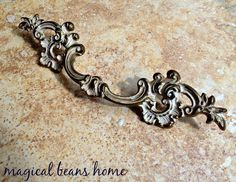 Vintage KBC French Provincial Brass & White Drawer Pulls by MagicalBeansHome.com