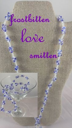 FROSTBITTEN LOVE SMITTEN..$19.99..royal & light blue, light lavender, thin chain. INTERCHANGEABLE JEWELRY CHAINS that becomes a: lanyard, necklace, choker, belt, or eyeglass chain. Includes gift packs with all connector pieces needed.