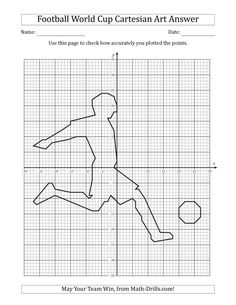 The Football World Cup Cartesian Art Player Kicking the Ball Math Worksheet Printable Graph Paper, Graph Paper Art, Printable Math Worksheets, Art Worksheets, Christmas Math Worksheets, Geometry Worksheets, Graphing Activities, Math Drills, Football